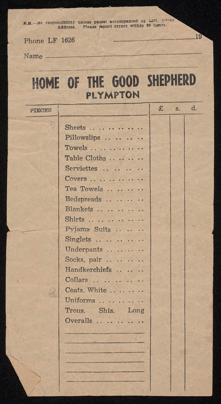 A small paper docket headed 'HOME OF THE GOOD SHEPHERD, PLYMPTON', printed with columns for listing the number of pieces and cost of various laundry items, including sheets, pajama suits, collars and uniforms. - click to view larger image