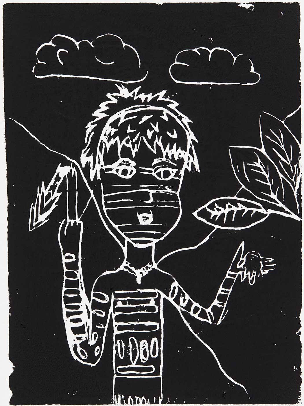 A child's artwork print depicting a person hunting. - click to view larger image