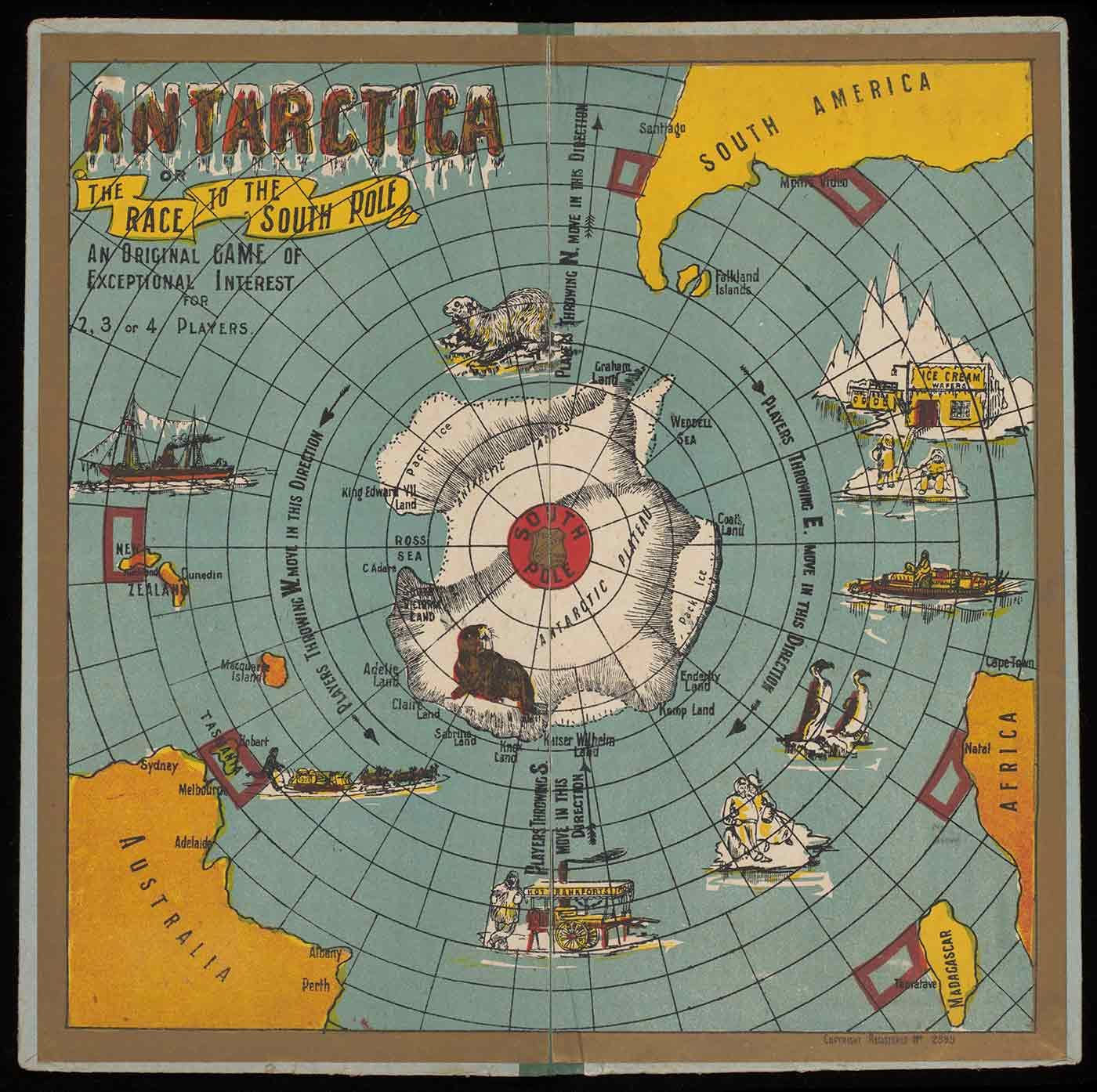 'Antarctica' board game showing a white landmass at centre, with game squares radiating out to Australia, Africa and South America. - click to view larger image