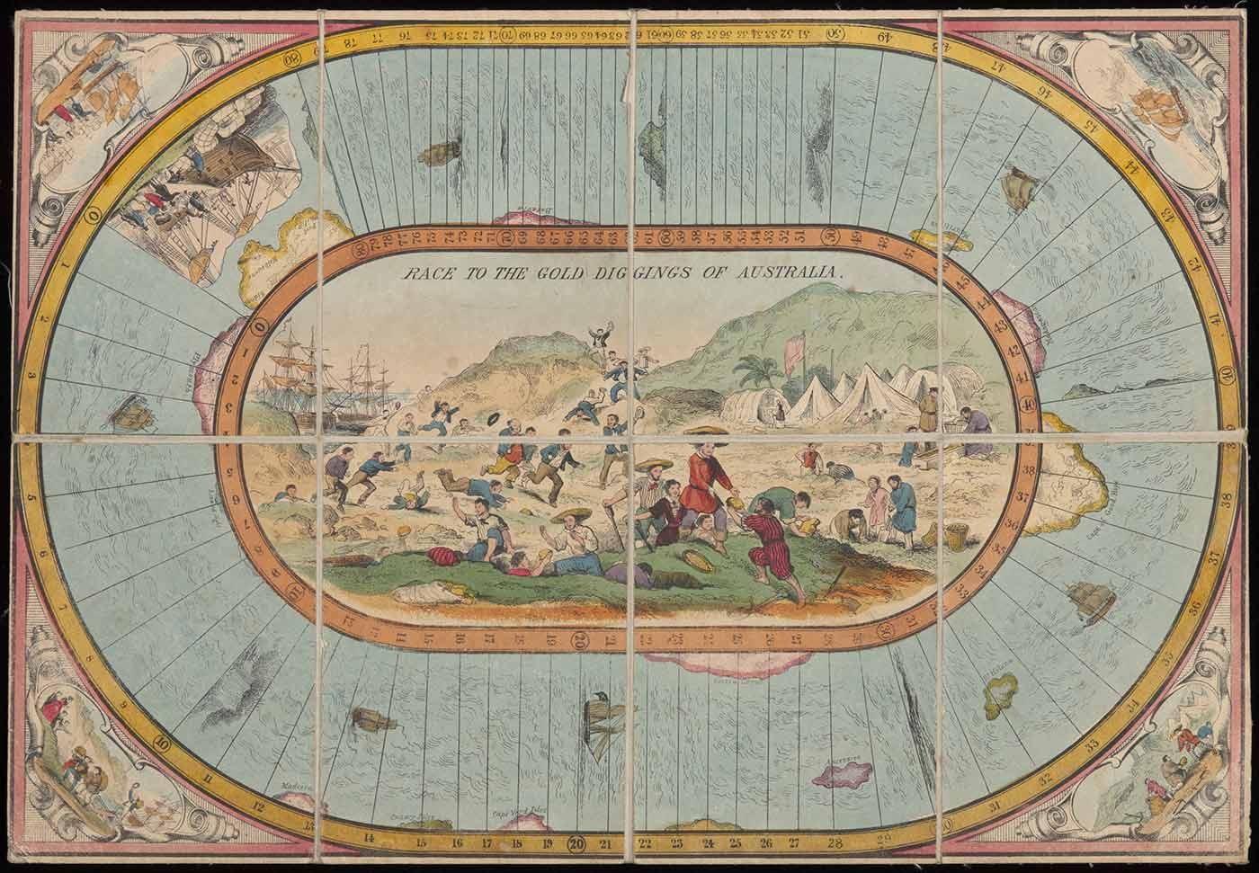 A hand-coloured lithographic playing board made of eight paper sections mounted on linen, with a polygonal twelve-sided teetotum or spinning dice and three small painted metal playing pieces in the shape of tall ships. - click to view larger image