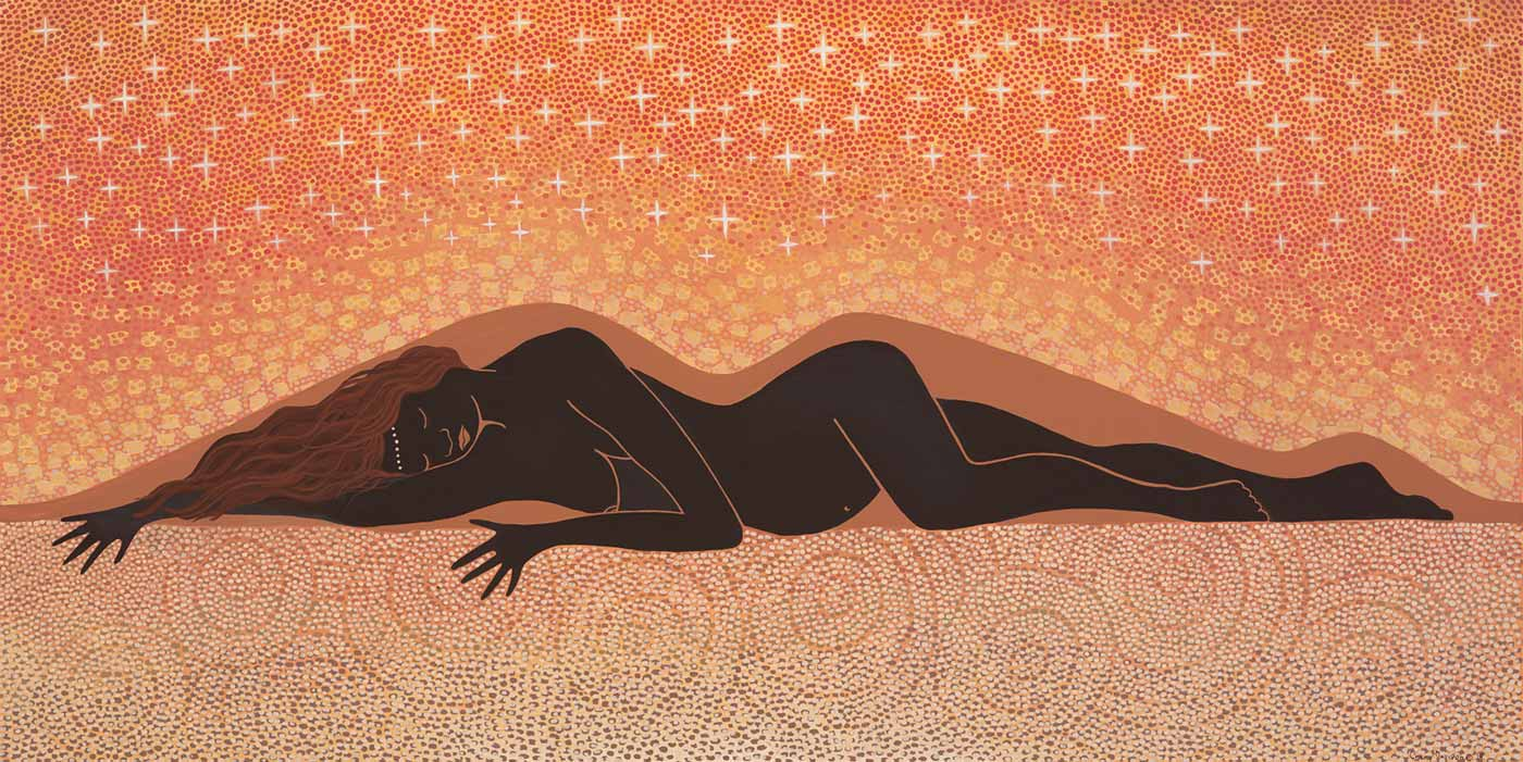An acrylic painting on stretched canvas. It features a picture of a woman laying down on her side in the landscape with patterned dots above and below her. Behind her is the silhouette of a hill. Stars can be seen above the figure and concentric circles below.