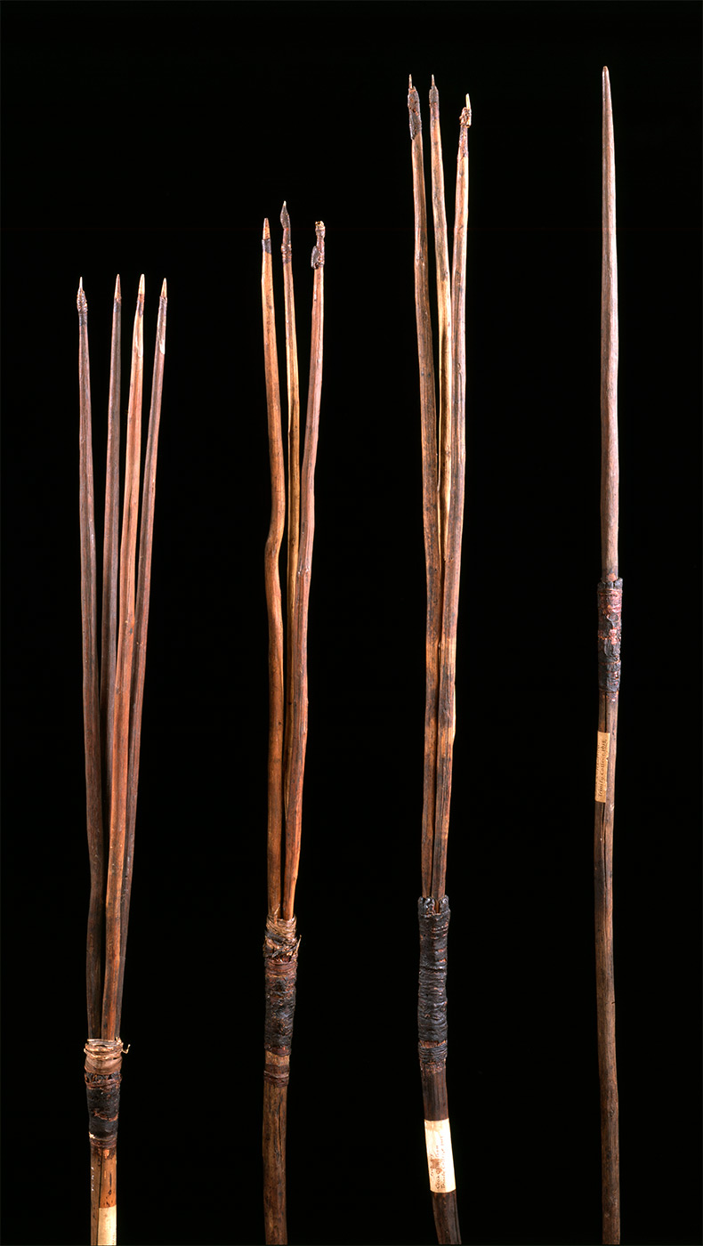Four wooden spears with either one, three or four prongs.