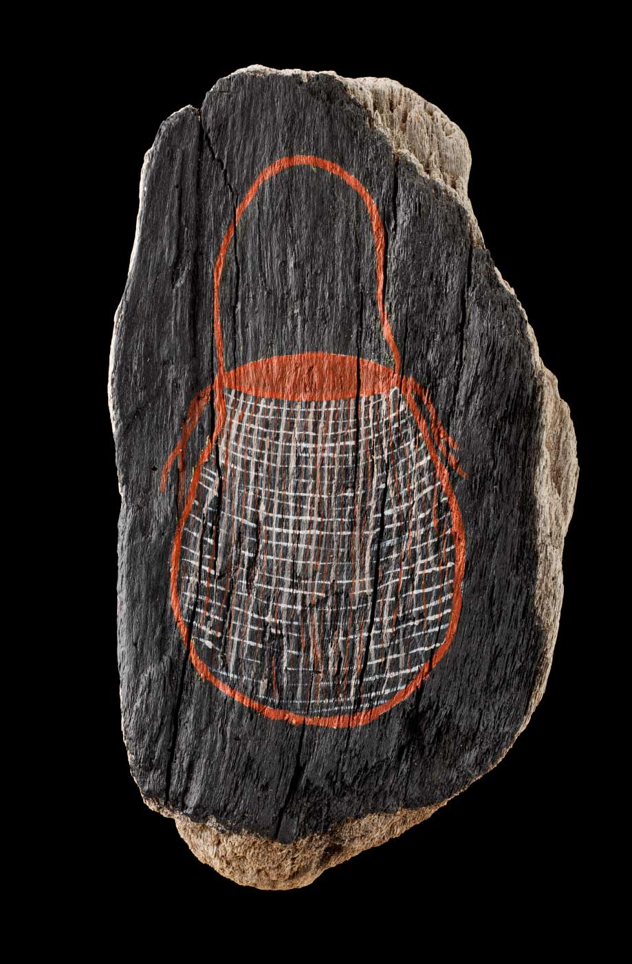An acrylic painting on driftwood featuring a brown bag with white crosshatching against a black background. - click to view larger image