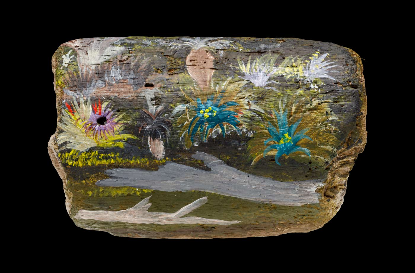 An acrylic painting on driftwood featuring flowers, foliage, and two logs. - click to view larger image