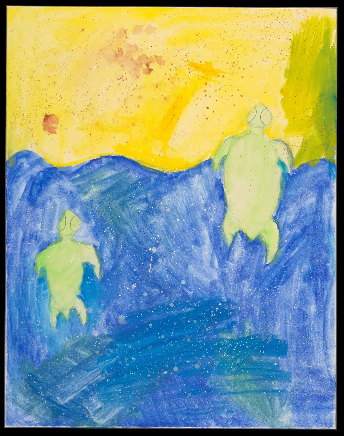 Painting on aquabord, depicting two green turtles emerging from blue water onto yellow sand. - click to view larger image