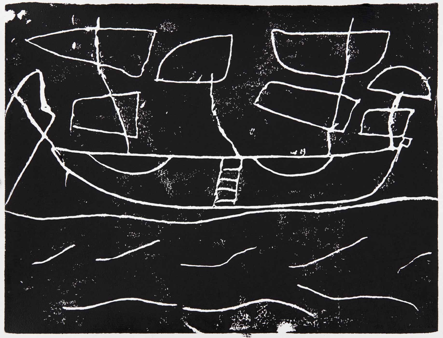 Print, black ink on white paper, depicting a sailing ship. Annotated in pencil 'Georgia'. - click to view larger image