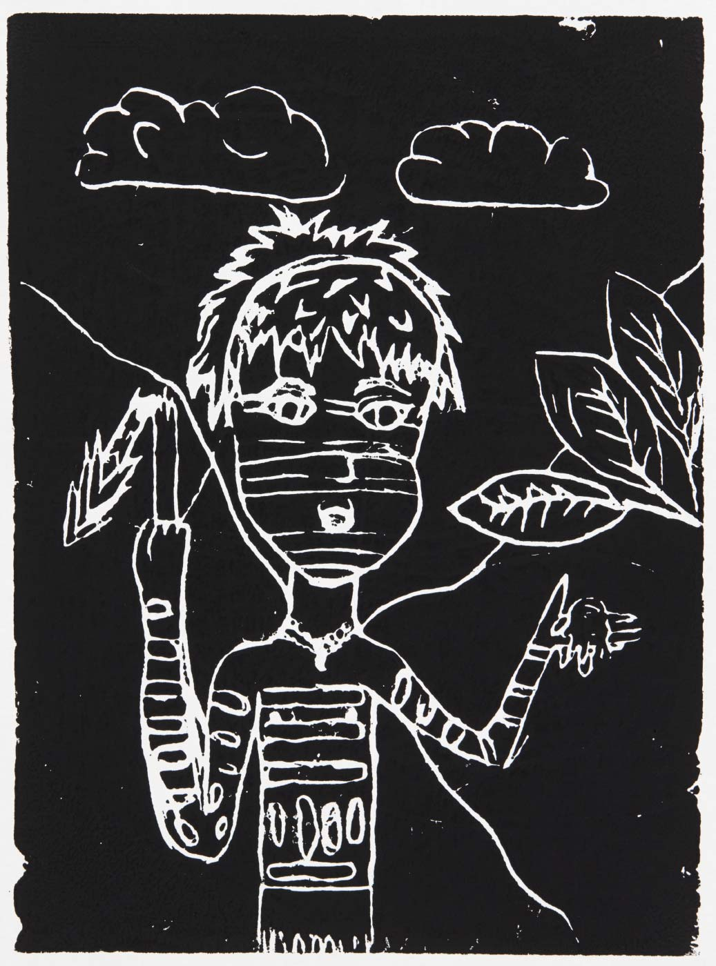 Print, black ink on white paper, depicting the decorated head and torso of a figure, with leaves to the right and cloud above. Annotated in pencil 'Sarah 2/12/19'. - click to view larger image