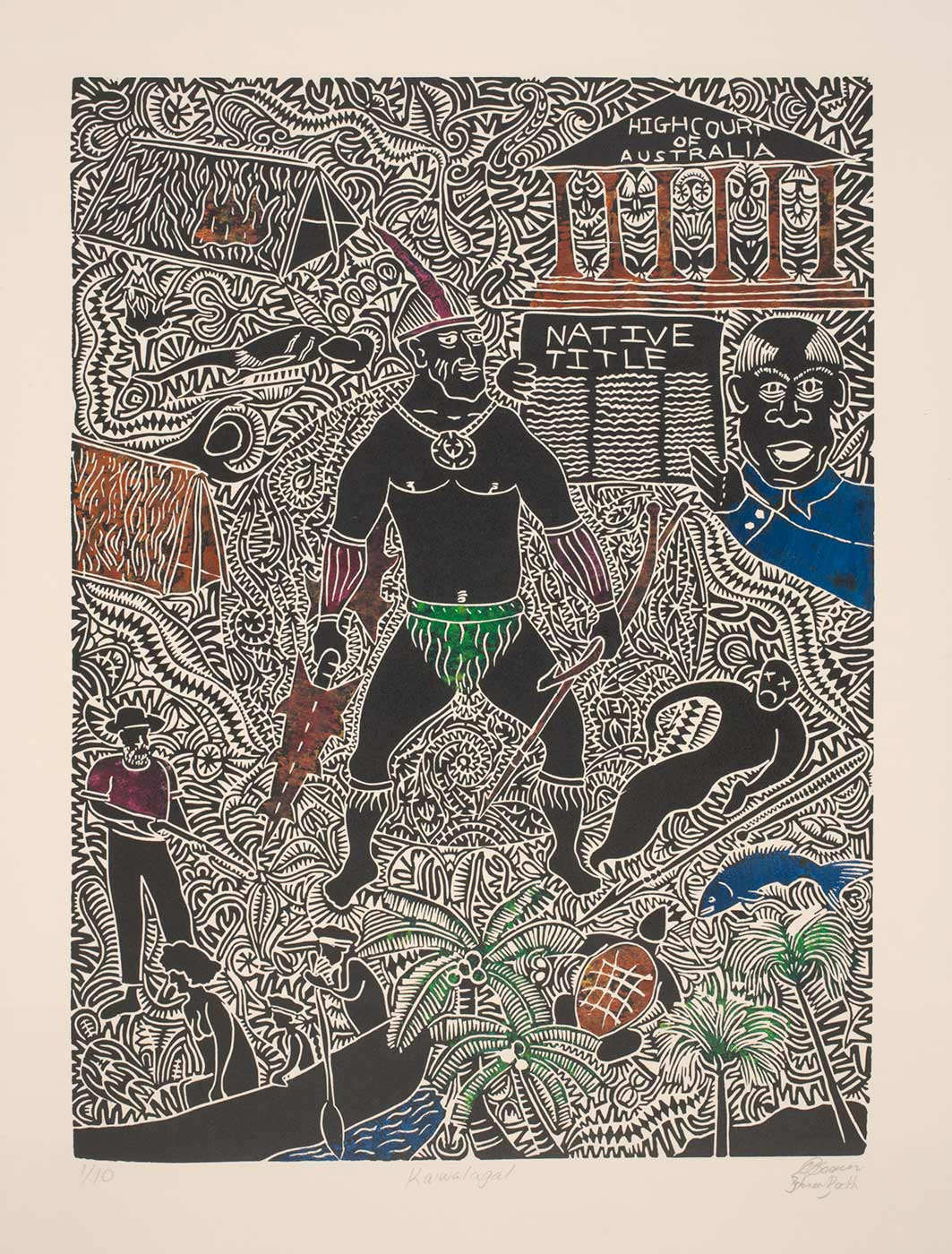 A linocut print titled 'Kaiwalagal' depicting a male figure holding weapons and wearing a headdress in the centre, surrounded by representations of the High Court of Australia, a man holding a Native Title document, dwellings, animals, a man holding a gun, and two people in a canoe. The artwork is printed in black ink on cream coloured paper, with some sections coloured, particularly a shirt, fish and water coloured blue; a shirt, armbands and headdress coloured pink; plants and clothing coloured green; and a turtleshell, weapons, and sections of dwellings coloured brown. Annotations pencilled below the imprint read '1/10 Kaiwalagal DBosun / Solomon Booth [signatures]'.