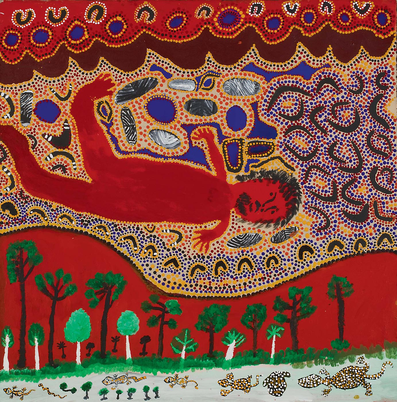 Kumpupirntily Cannibal Story 2008 by Billy Atkins, Martumili Artists. Acrylic on canvas. - click to view larger image