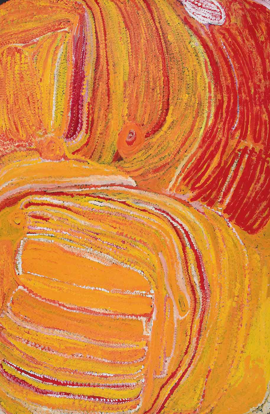 A textured yellow-orange toned painting on brown linen with a curved vertically lined red section in the top right corner with a white and red oval above it. On the top left and middle half of the painting are curved and straight vertical stripes in yellow, pink, orange, burgundy, red and white with two orange-yellow circles towards the middle section of the painting. The bottom left has an outlined rounded rectangle with horizontal stripes in yellow divided by thin dotted lines in white, red, orange or pink. The right side of the painting features a curved vertical section which follows the edge of the shape on the left and fills the area with yellows and a little bit of pink, white, red and orange. - click to view larger image