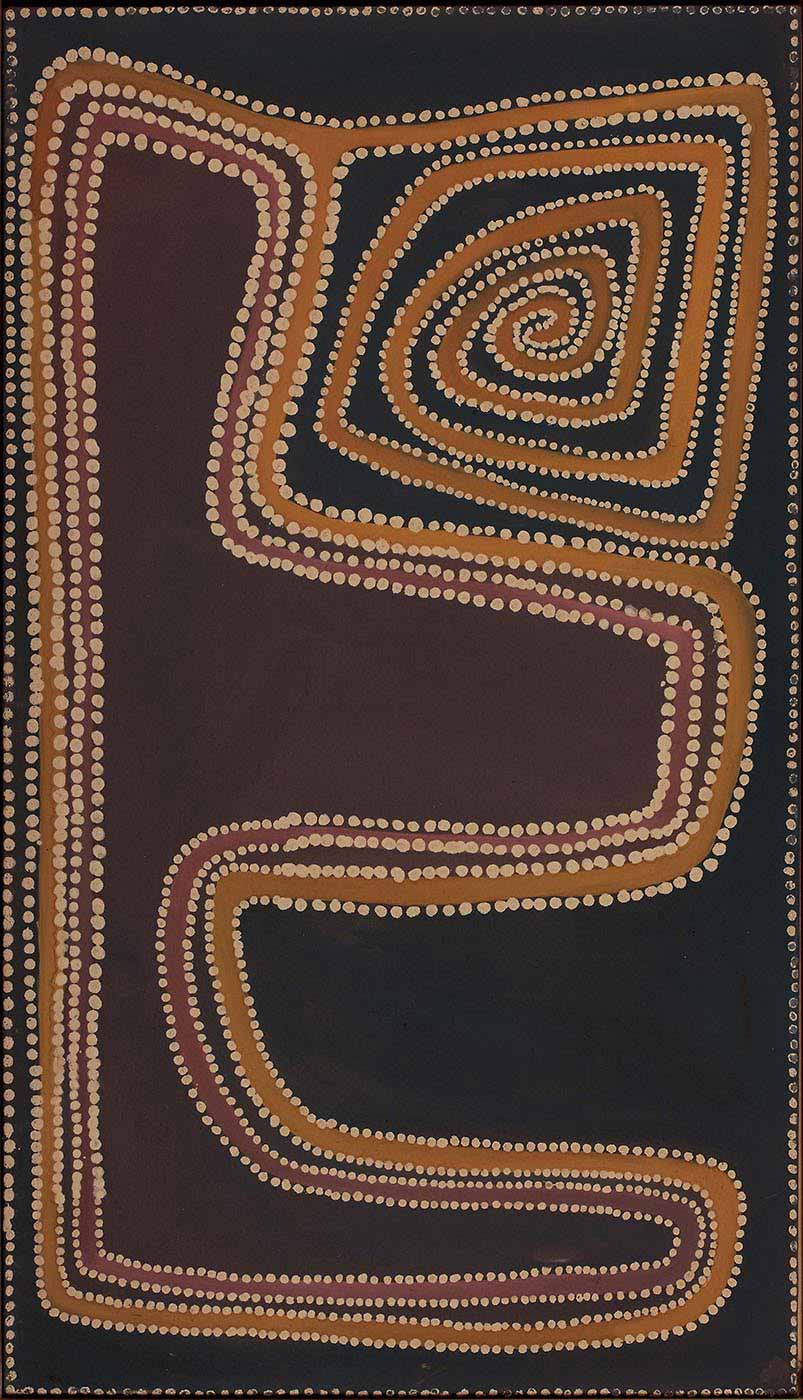 An ochre on stretched canvas white dot and line painting with a black background. A yellow and pink line is painted around the artwork, bordered by white dots. The yellow like spirals in the lower left corner.