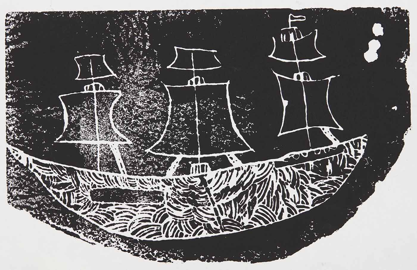 A black print on white cardboard featuring a ship with curve concentric patterns across the hull of the ship. - click to view larger image
