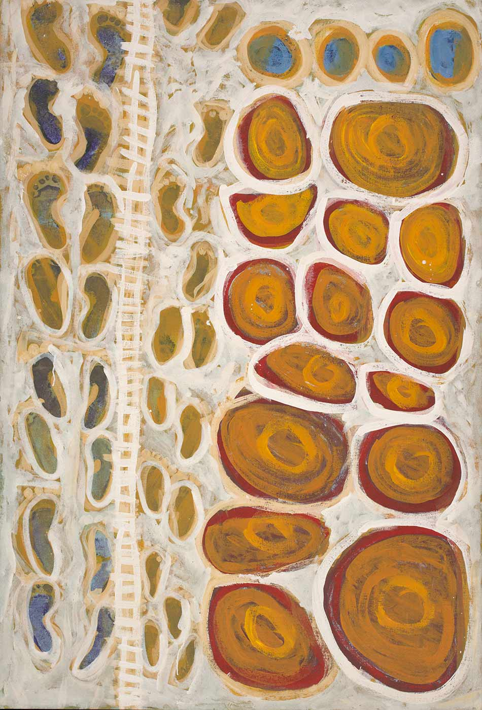 An acrylic painting featuring 15 orange and red coloured concentric circular shapes at the top half of the painting. There are four blue circles on the left hand side of the top of the painting. Below the circles is a row of foot prints with a white cross hatch design that looks like a fence below them and then more foot prints below that. The background is painted white and there is a white outline around each feature.