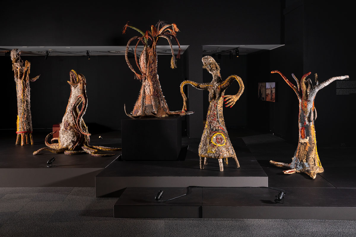 Woven sculptures in a museum - click to view larger image