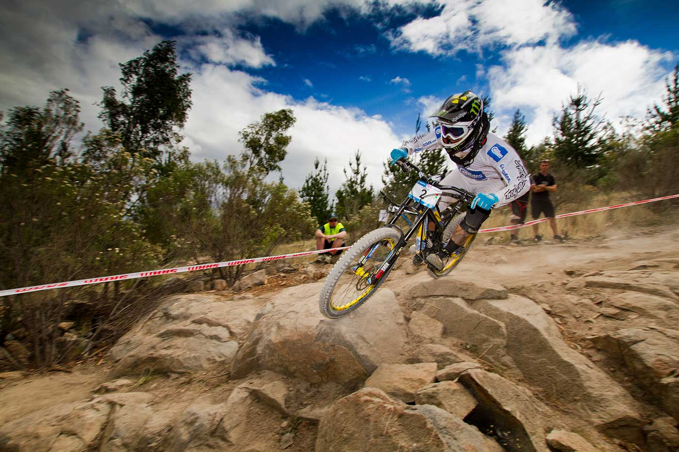 Sam Hill racing at Mount Stromlo Mountain Bike Park, Canberra. - click to view larger image