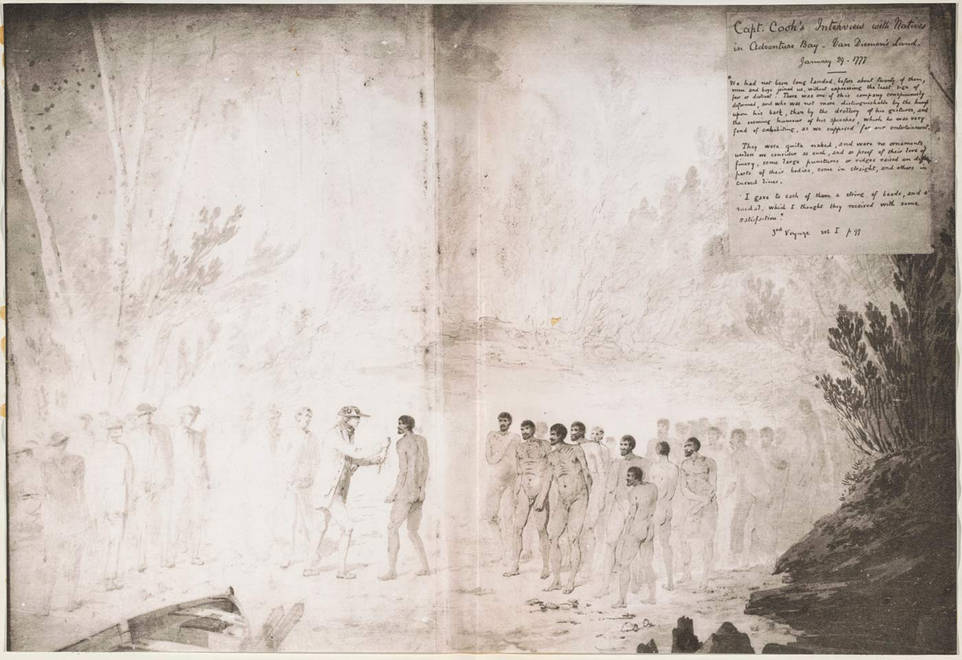 Open book presenting a black and white illustration across both pages. The illustration presents a scene where two groups of men of different ethnicities meet. In the centre the more prominent figure of one group presents an unidentified object to the prominent figure of the other group. In the top right corner on the right page there is a title that reads: 'Capt. Cook's Interview with Natives in Adventure Bay - Van Diemen's Land . January 29 1777'. Underneath are several paragraphs of handwritten text. - click to view larger image