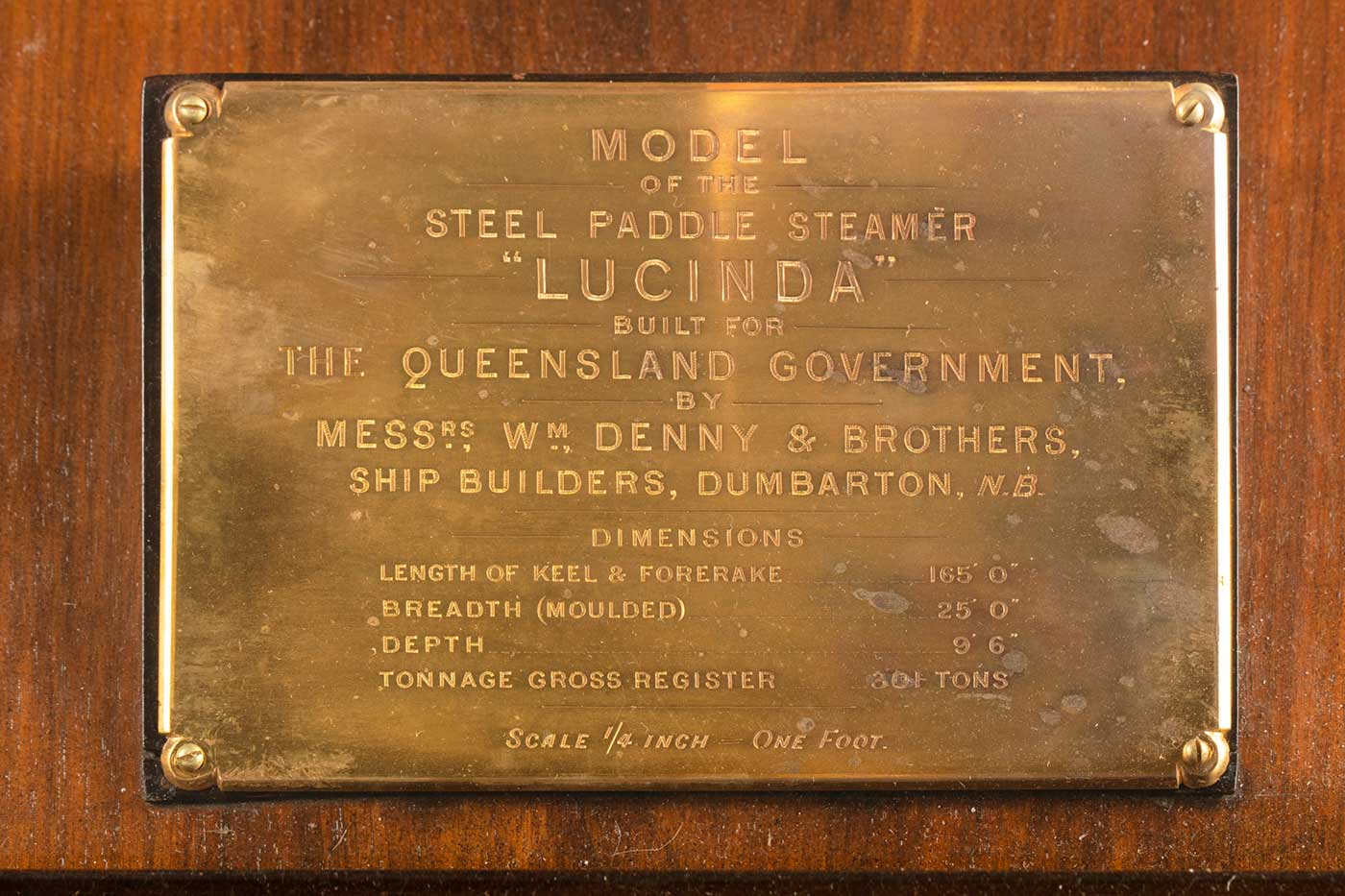 Plaque engraved with text including: