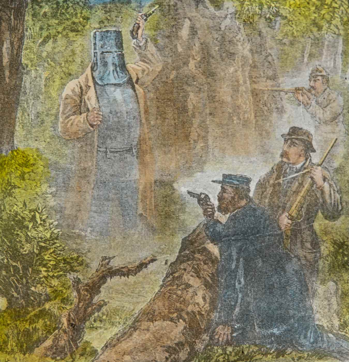 Glass slide depicting Ned Kelly in armour with revolver raised above his head in bush environment. Two men with rifles and one with revolver crouched pointing guns at Kelly. - click to view larger image