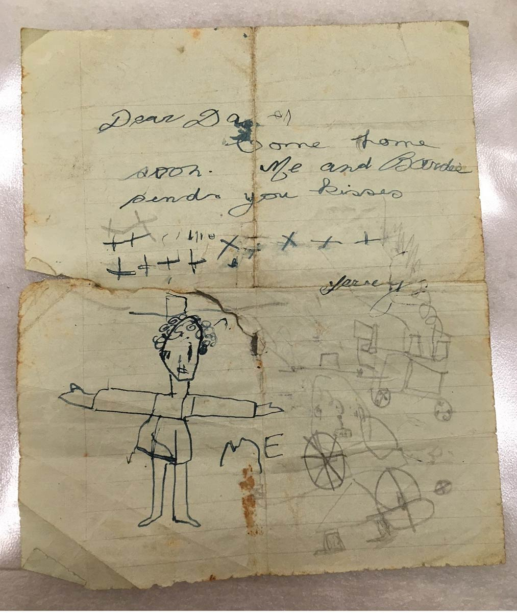 A letter on an old piece of paper with slightly wonky hand-writing and random doodles below. - click to view larger image