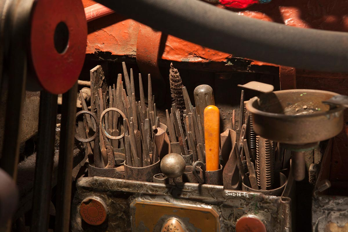 A colour photograph of a tool compartment on the Saw Doctor's wagon that contains a variety of steel files. - click to view larger image