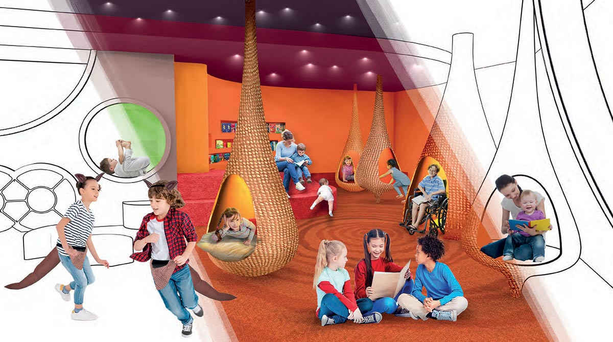 Digital rendered image of a modern exhibition space with children and carers interacting with pod shaped vessels, costumes and books.