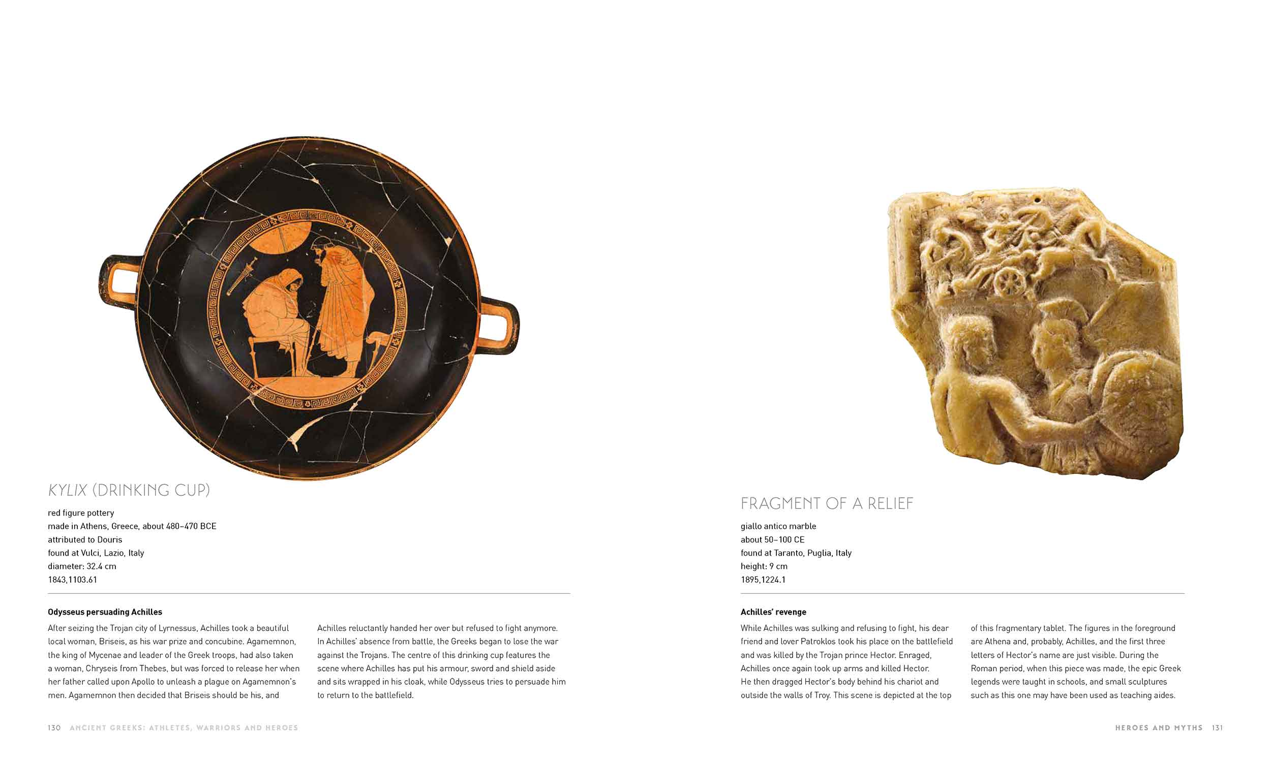 Sample page of a catalogue featuring a decorated vessel,  marble fragment and text. - click to view larger image