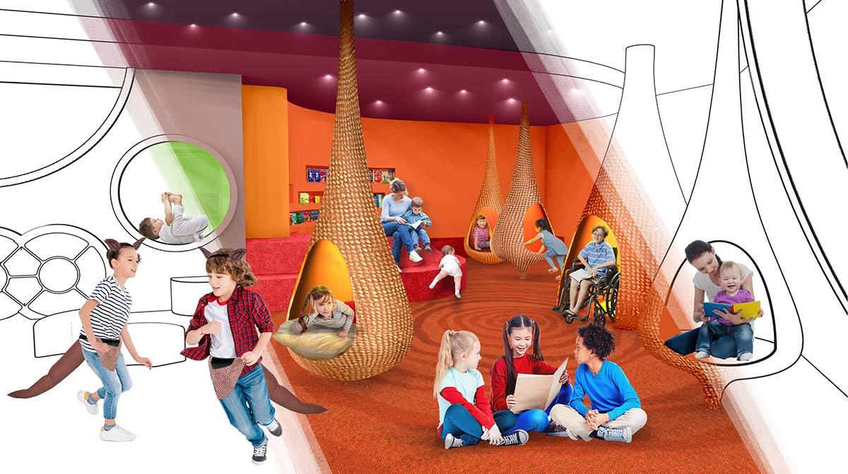 Digital rendering of a children's gallery space.