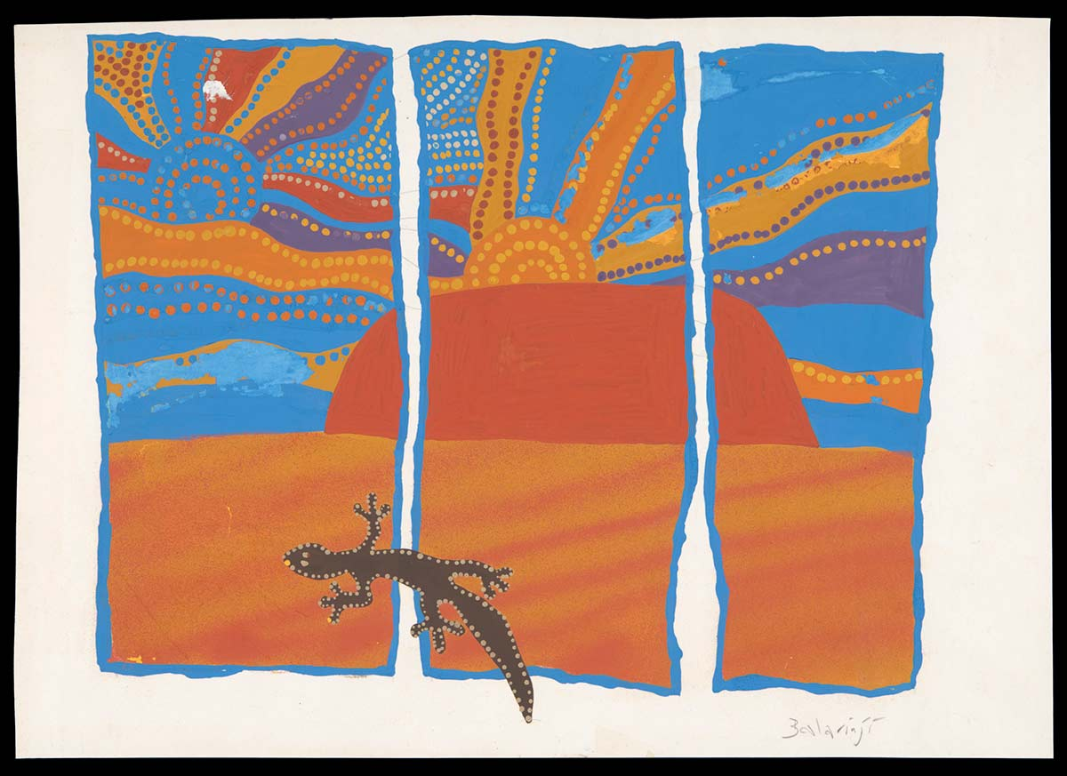 A gouache painting on paper. The design features a gecko, in a desert landscape divided into three vertical panels. The colours used are brown, oranges, purple, yellows and blue. - click to view larger image