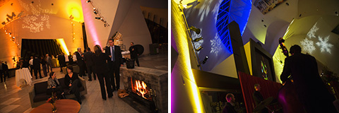 Photographs of Museum sponsors, Corporate Circle members and musicians in the Hall, with illuminated projections on the ceiling.