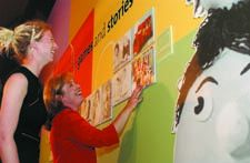 Curator Jane Carter with Play School presenter Noni Hazelhurst