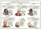 Cartoon showing caricatures of Indigenous leaders commenting on reports of abuse of Indigenous children from 2003, with John Howard reading a pre-election poll and saying in 2007, 'This is a national emergency'.
