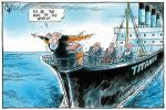 Cartoon parodying the 'Titanic' movie, showing Peter Costello standing on bow of ship with arms outstretched, saying 'I'll be king of the world!' John Howard is holding onto to him from behind.