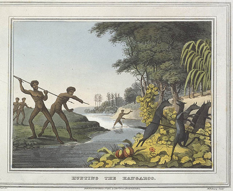 Colour aquatint plate from Field Sports, &c. &c. of the Native Inhabitants of New South Wales 1813 featuring Indigenous Australians hunting kangaroos.
