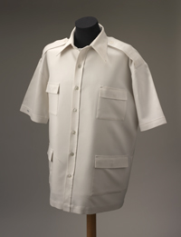 A white short-sleeved jacket style shirts with two pockets on either side