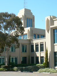 Art-deco style building facade