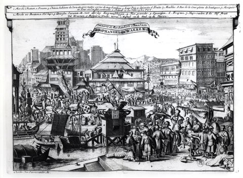 An engraving of a market scene.
