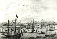 Engraving of a port.