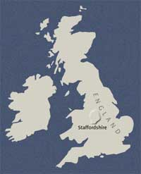 Map of England showing location of Staffordshire.