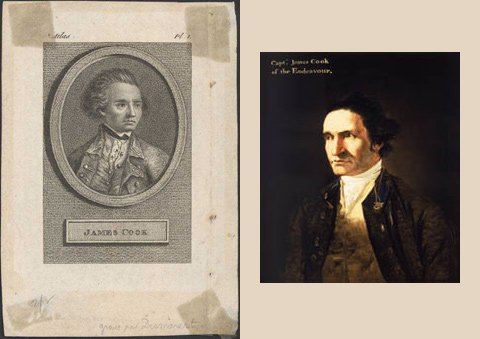 Left: Engraved image of Captain James Cook by James Desmarest. Right: Portrait of Captain James Cook by artist William Hodges in about 1775.