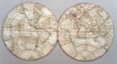 Jigsaw puzzles of maps of the eastern and western hemispheres of the world