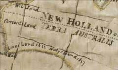 Detail of of an embroidered map of the eastern hemisphere of the world that shows inked in locations and dates of Dutch claims on New Holland