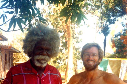 David Burrumarra MBE, instigator of the Adjustment Movement in Arnhem Land, with Ian McIntosh, Elcho Island, 1988. Photos: Djoymi Wutjara Dhamarrandji.