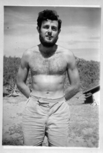A black and white photo of a bearded, bare chested Raymond Louis Specht in 1948.
