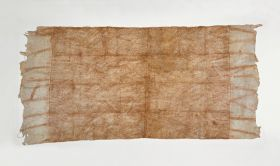 Glazed barkcloth decorated with a pattern of diagonal brown lines.