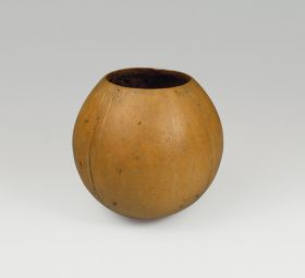 Drinking bowl made from white coconut where the shell was split open just above its widest point.