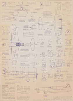 Copy of a technical drawing showing various elevation views, profiles and detailed features of 'Captain Edgar Percival's Mew Gull E3H' monoplane, registered 'GA-FAA'. Colour scheme details and data are listed bottom left.