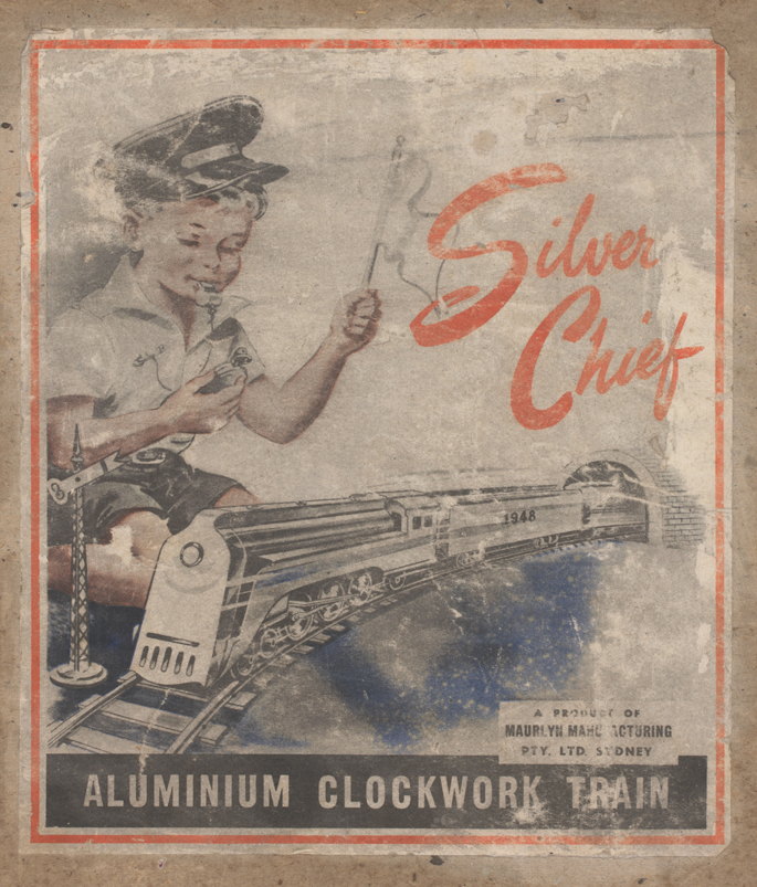 Box cover of New South Wales Railways 'Silver Chief' aluminium train set by Maurlyn Manufacturing Pty Ltd
