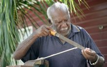 Samuel Baragud (Snr) making a crayfish spear.