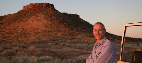 Curator Peter Thorley on the Northern Territory and West Australian border.