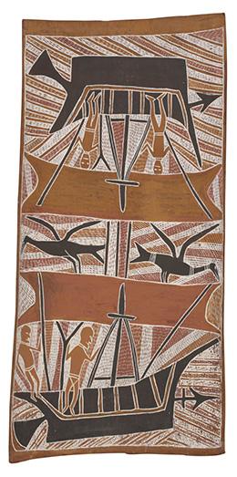 Bark painting depicting Makasar in boats